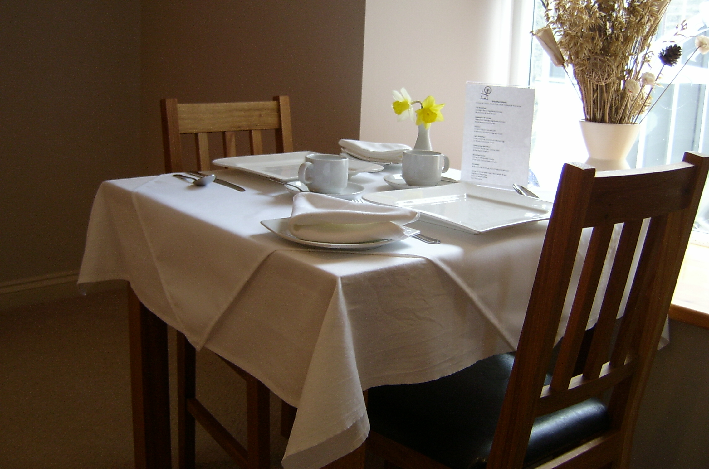 Melin Pandy bed and breakfast table
