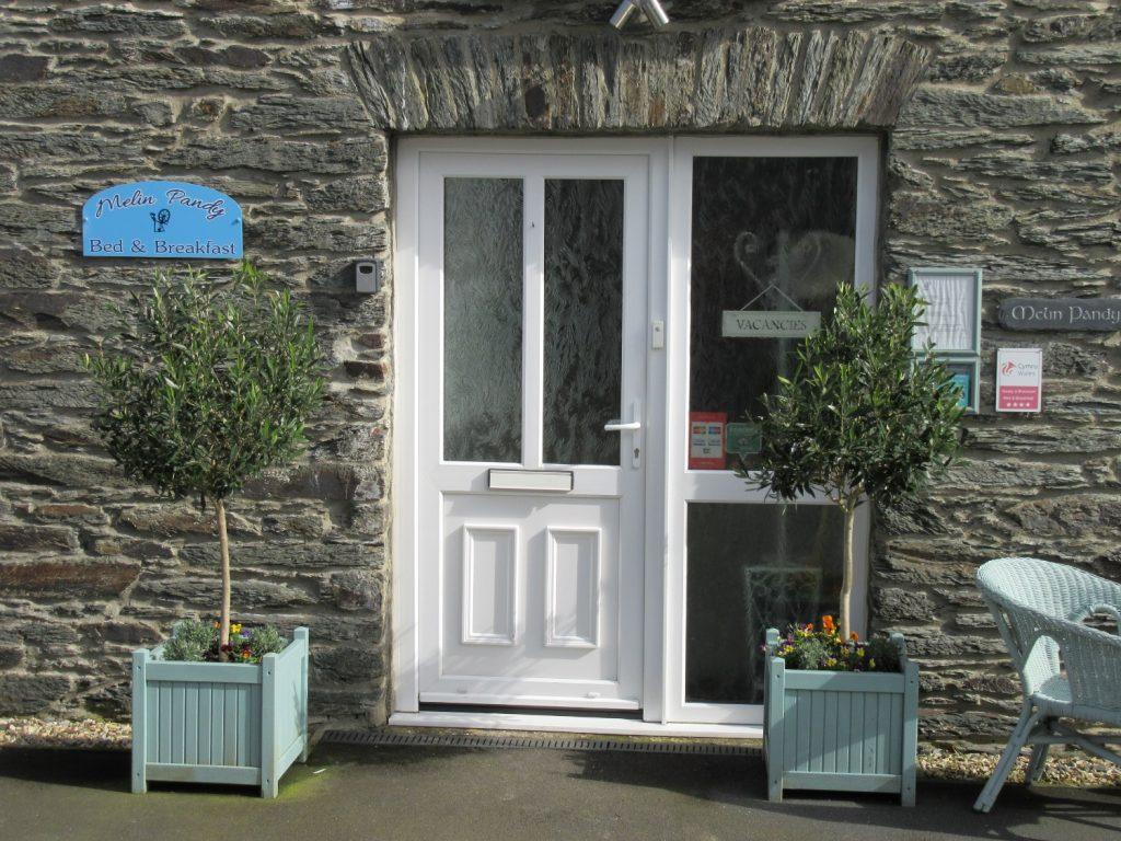 Front door of Melin Pandy bed and breakfast