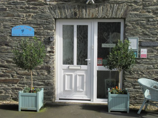 Front door of Melin Pandy bed and breakfast
